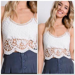 Tops - BEST SELLER white crochet jacquard crop top